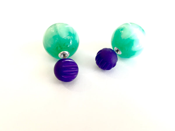 2 Sided Stud Earrings Cobalt Blue & Emerald | vintage lucite moonglow double sided studs