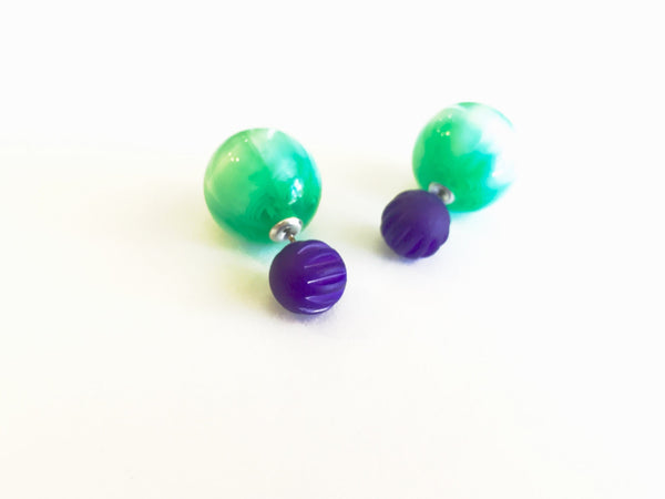 Cobalt Blue & Emerald Green Moonglow 2 Sided Stud Earrings