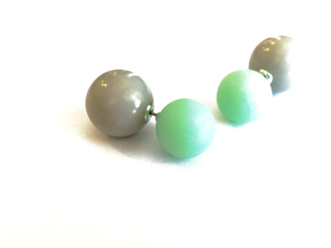 green grey 2 sided earrings