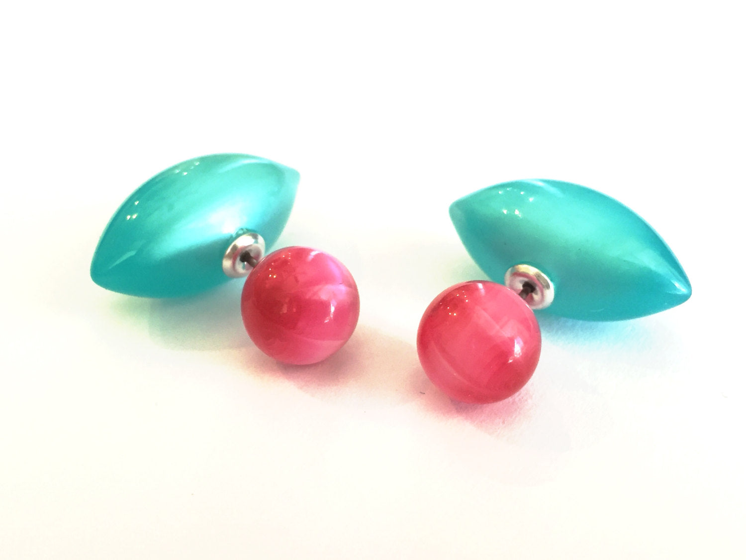 pink teal stud earrings