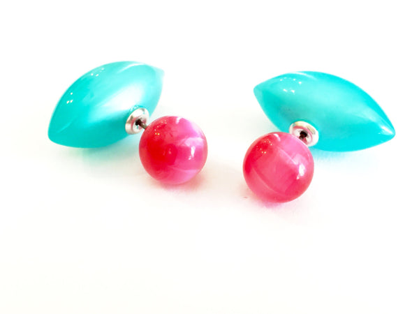 fuchsia double earrings