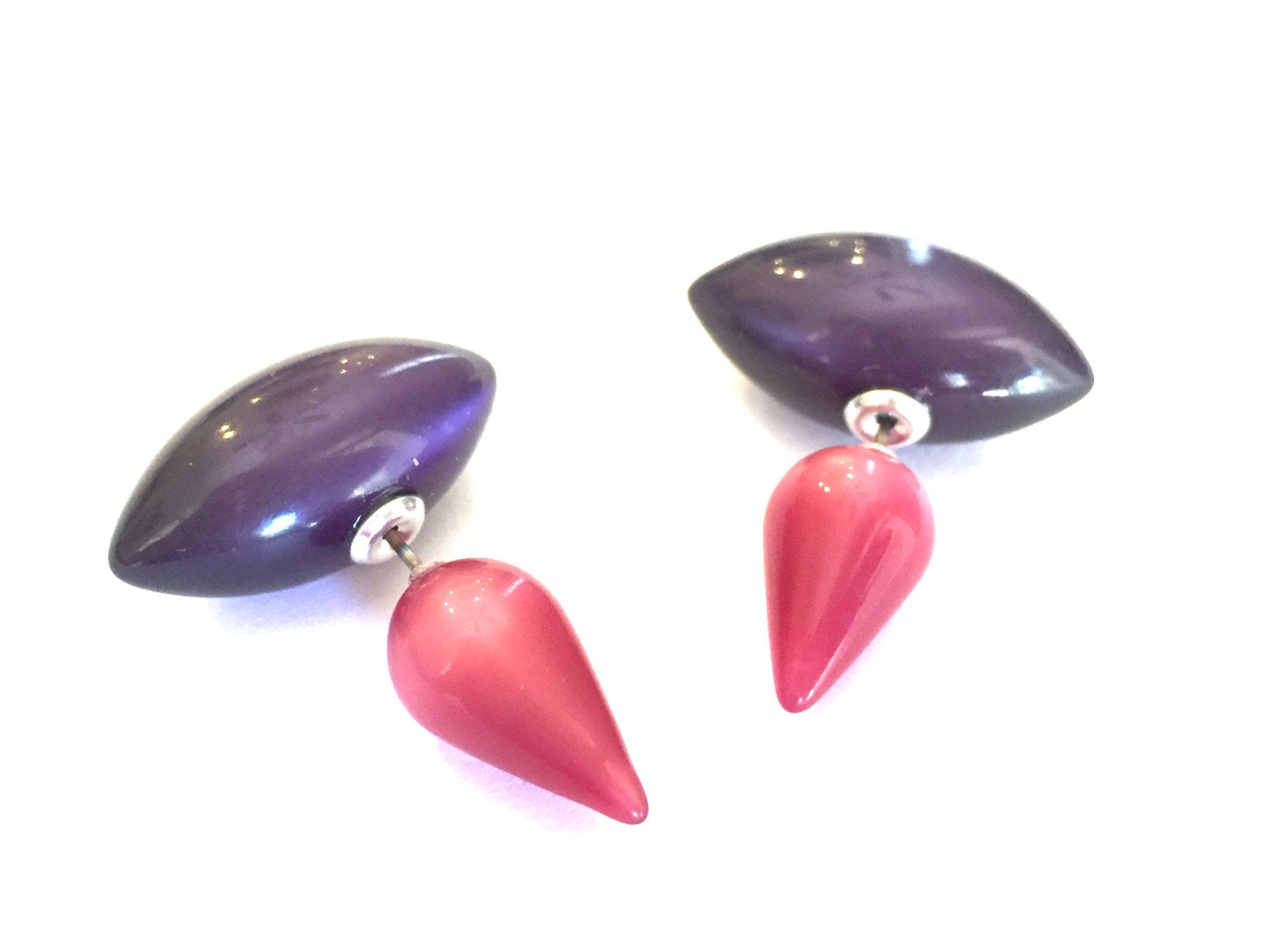 hot pink purple studs