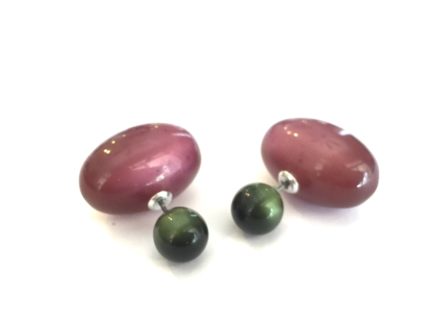 plum green earrings