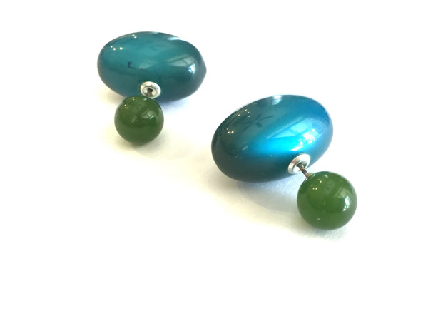 double sided earrings green