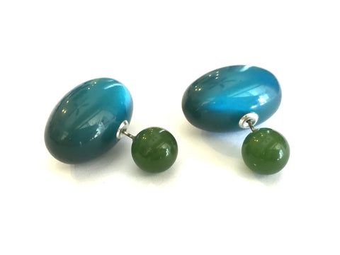 jade teal 2 sided earrings