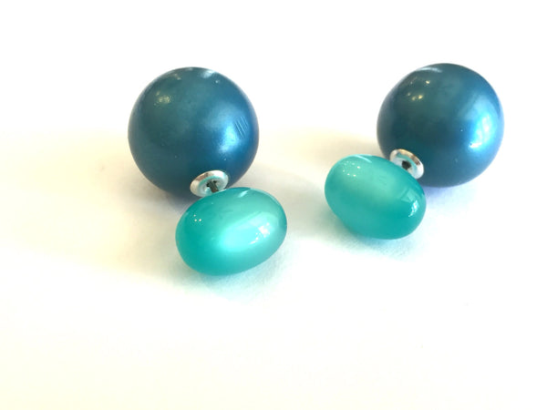 double sided earrings teal