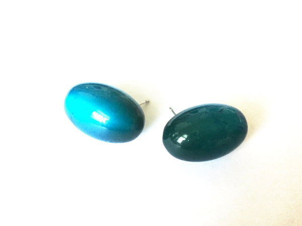 bright teal oval studs