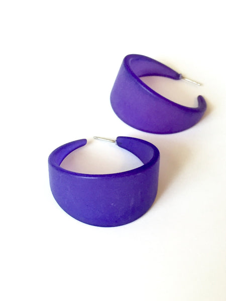 big cobalt hoop earrings
