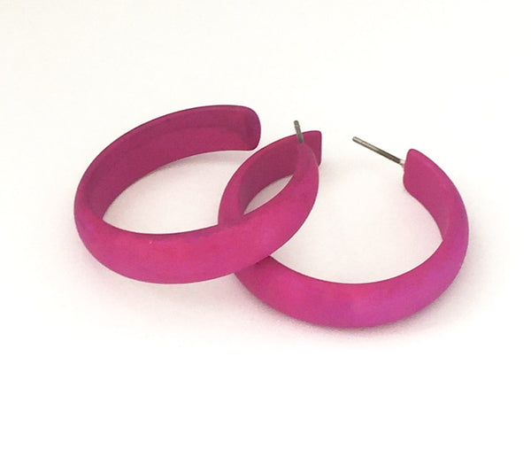 big violet lucite earrings