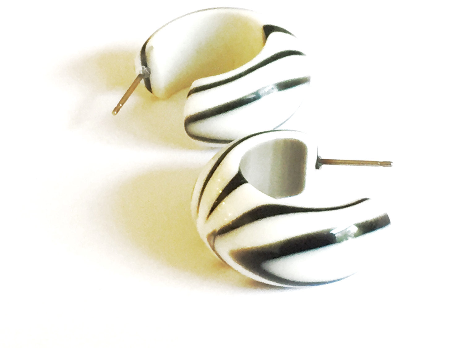 black white earrings lucite