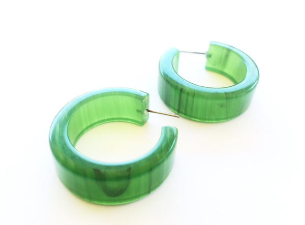 jade green hoop earrings