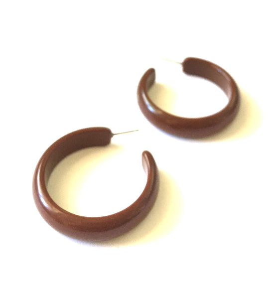 brown midi hoop earrings