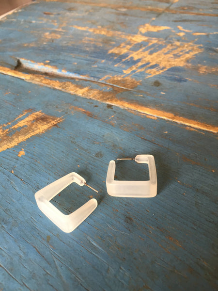 square  lucite hoop earrings