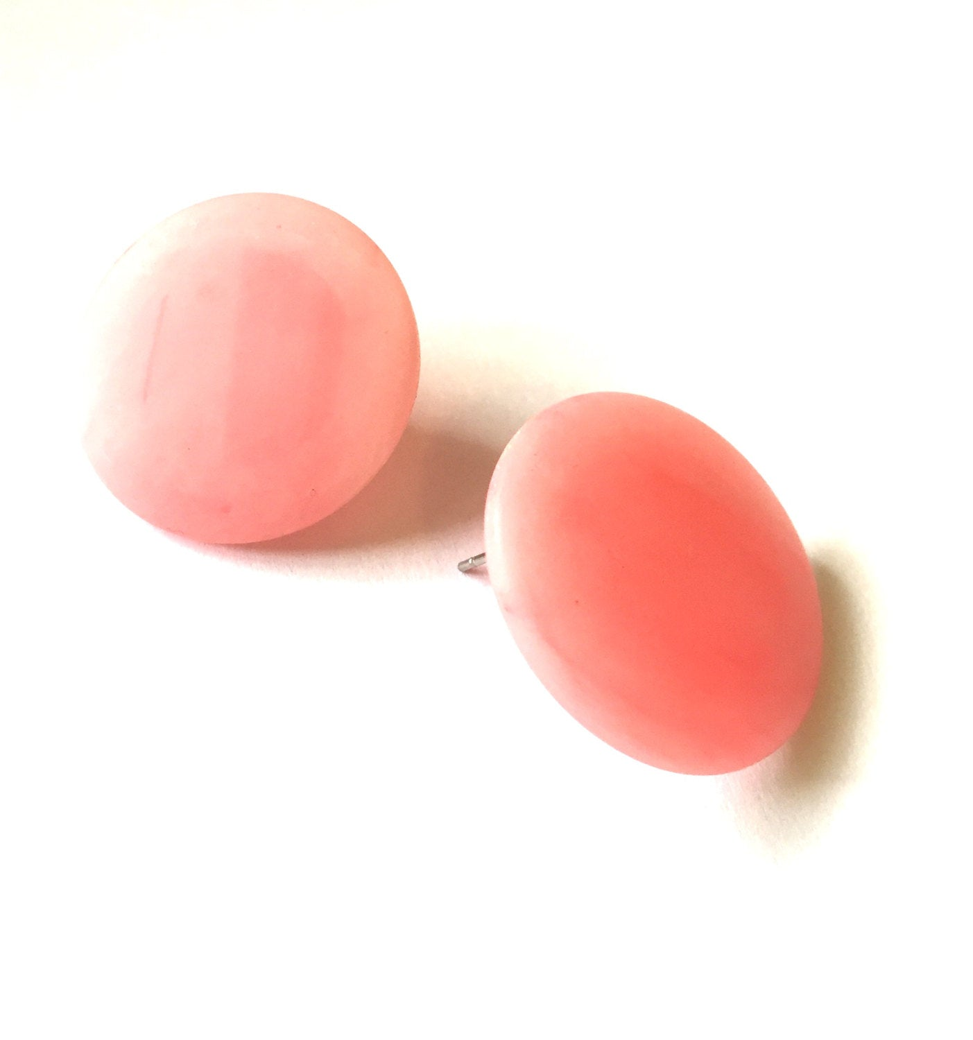big pink disc earrings
