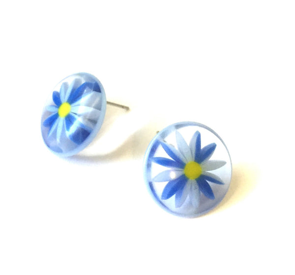 blue floral earrings