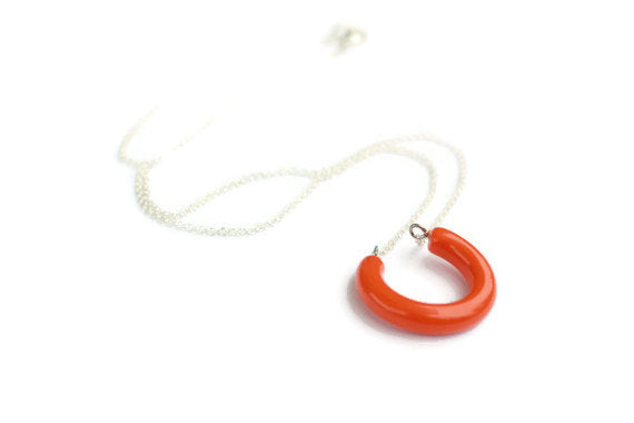 orange lucky pendant necklace