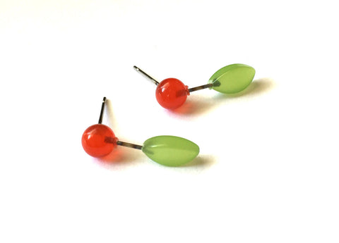 vintage cherry earrings