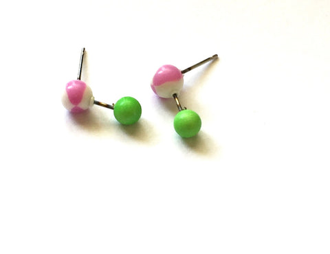purple green geo studs