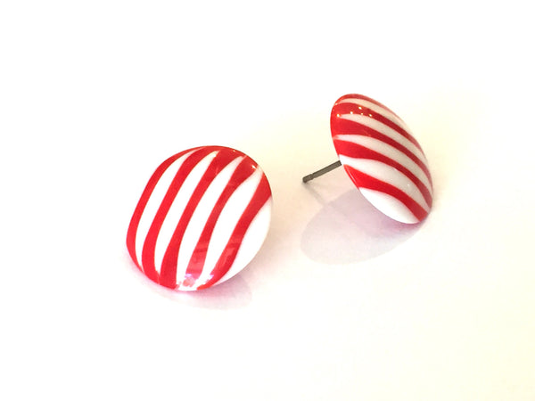cherry white stripe earrings