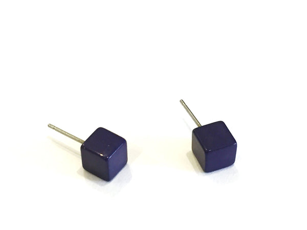 navy blue cube stud earrings