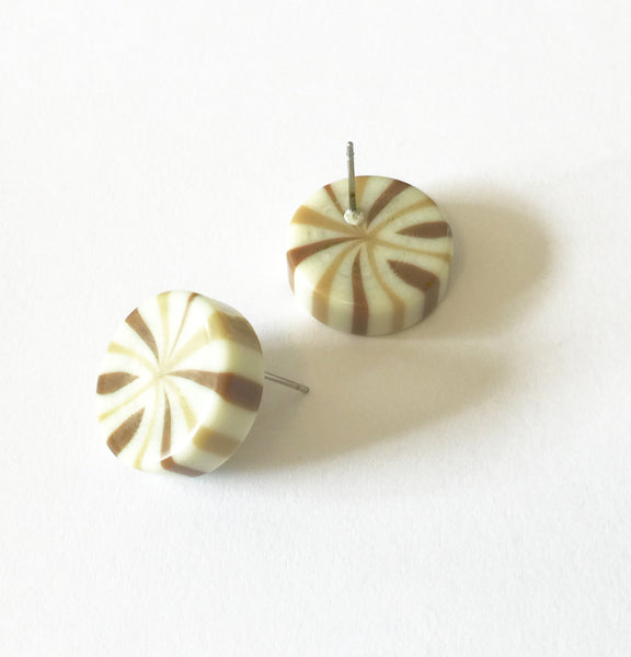 neutral candy stripe earrings