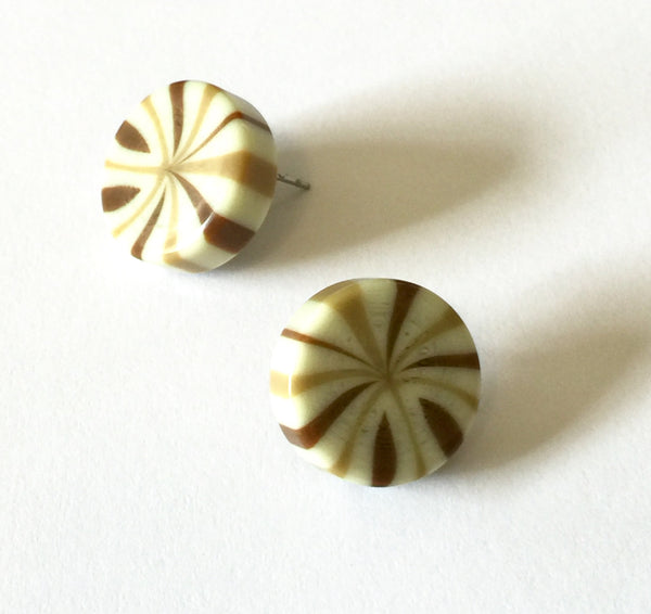 tan stripe studs