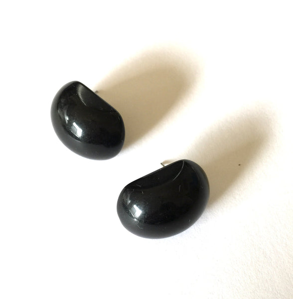 black button stud earrings