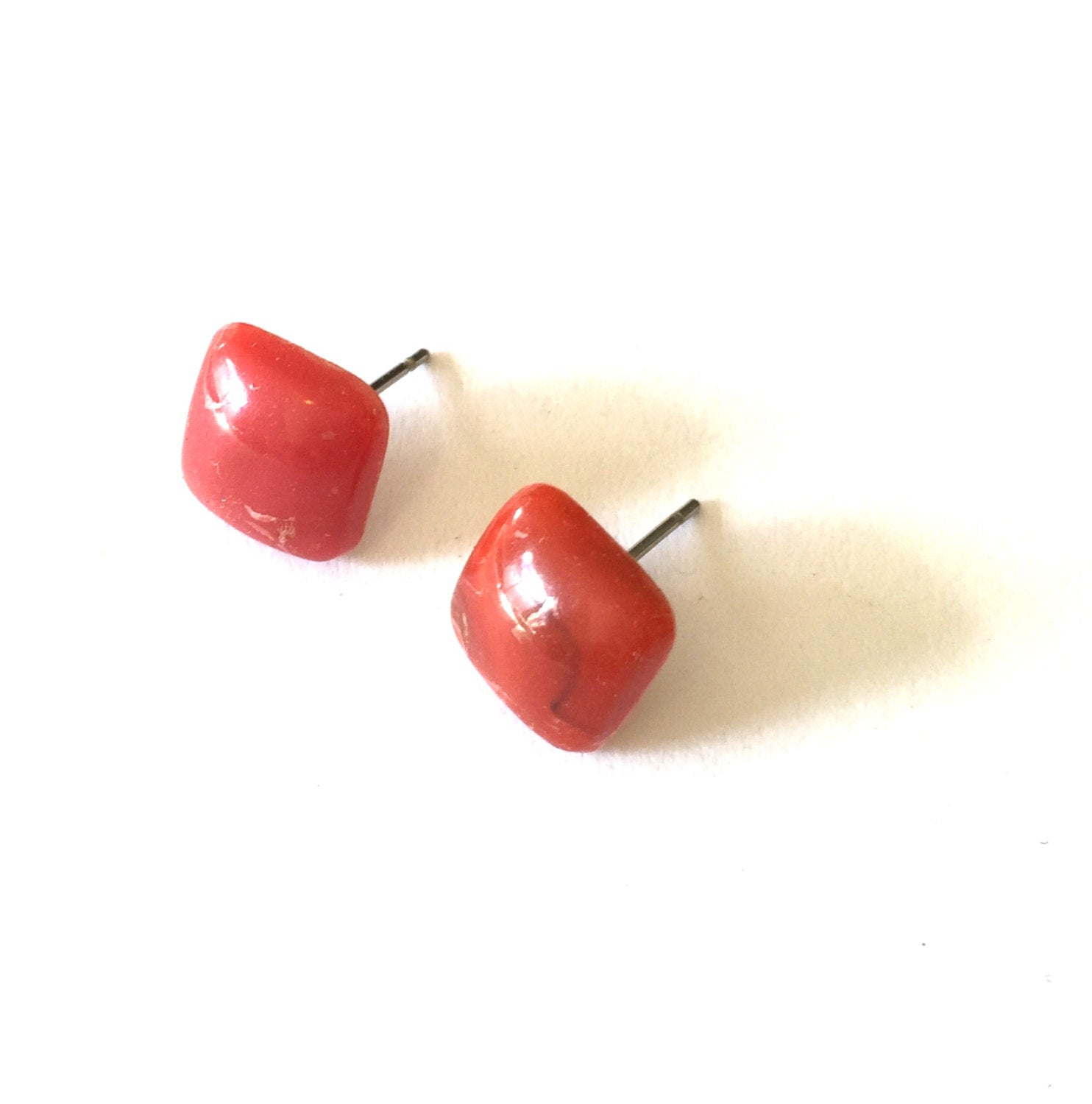 coral square earrings