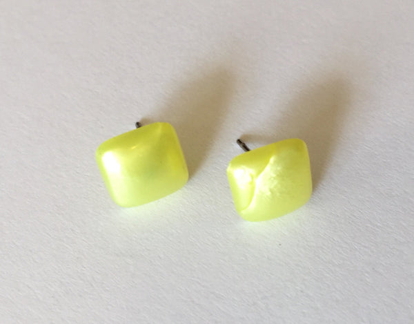 yellow square stud earrings