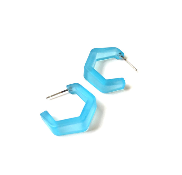 aqua faceted earrings