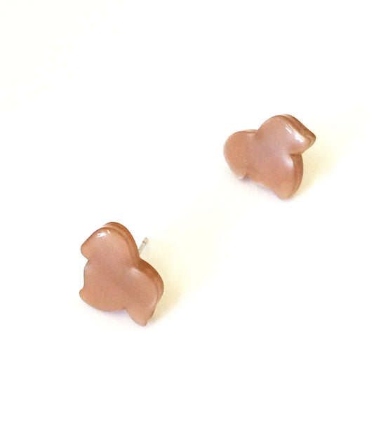 beige moonglow leaf stud earrings