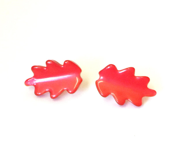 bright red leaf earrings