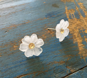 frosted flower studs