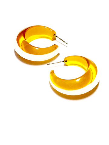 yellow white hoop earrings