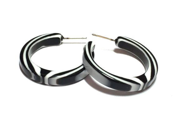 black white hoop earrings