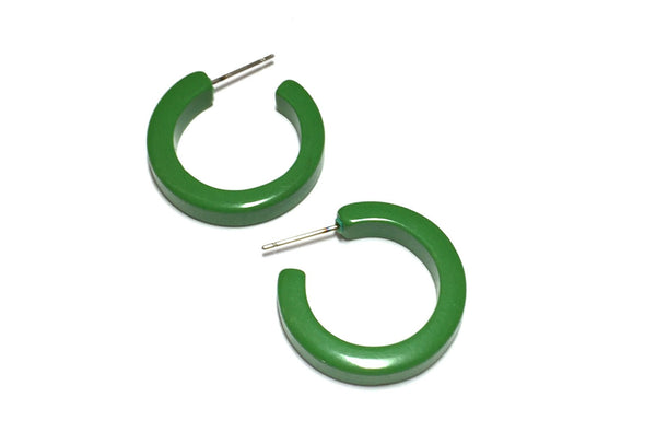 small green hoop earrings