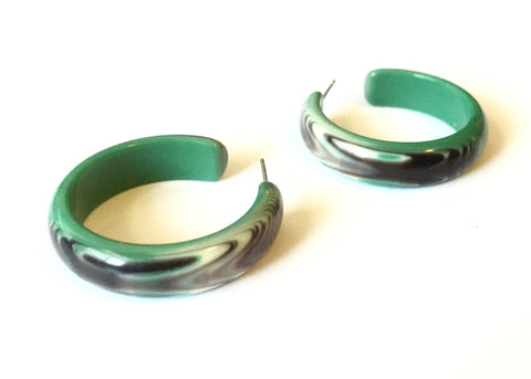 Petrol Green & Black Marbled Agate Hoops | vintage lucite midi hoop earrings