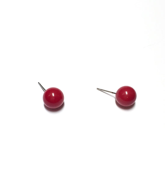 cherry red post earrings