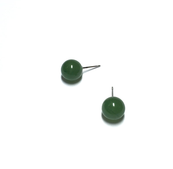 jade green stud earrings