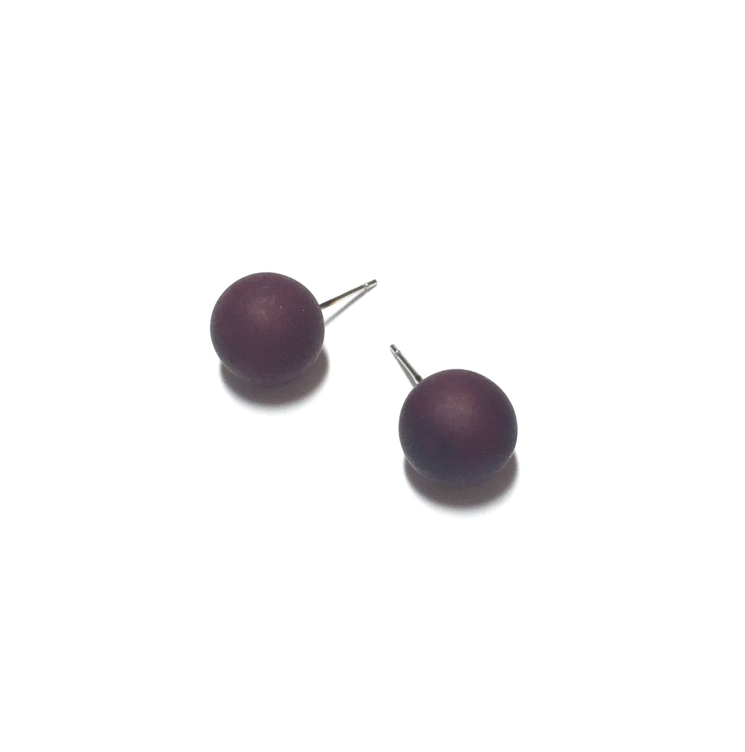 eggplant stud earrings