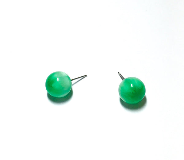 green moonglow stud earrings