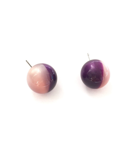 pink purple moonglow studs