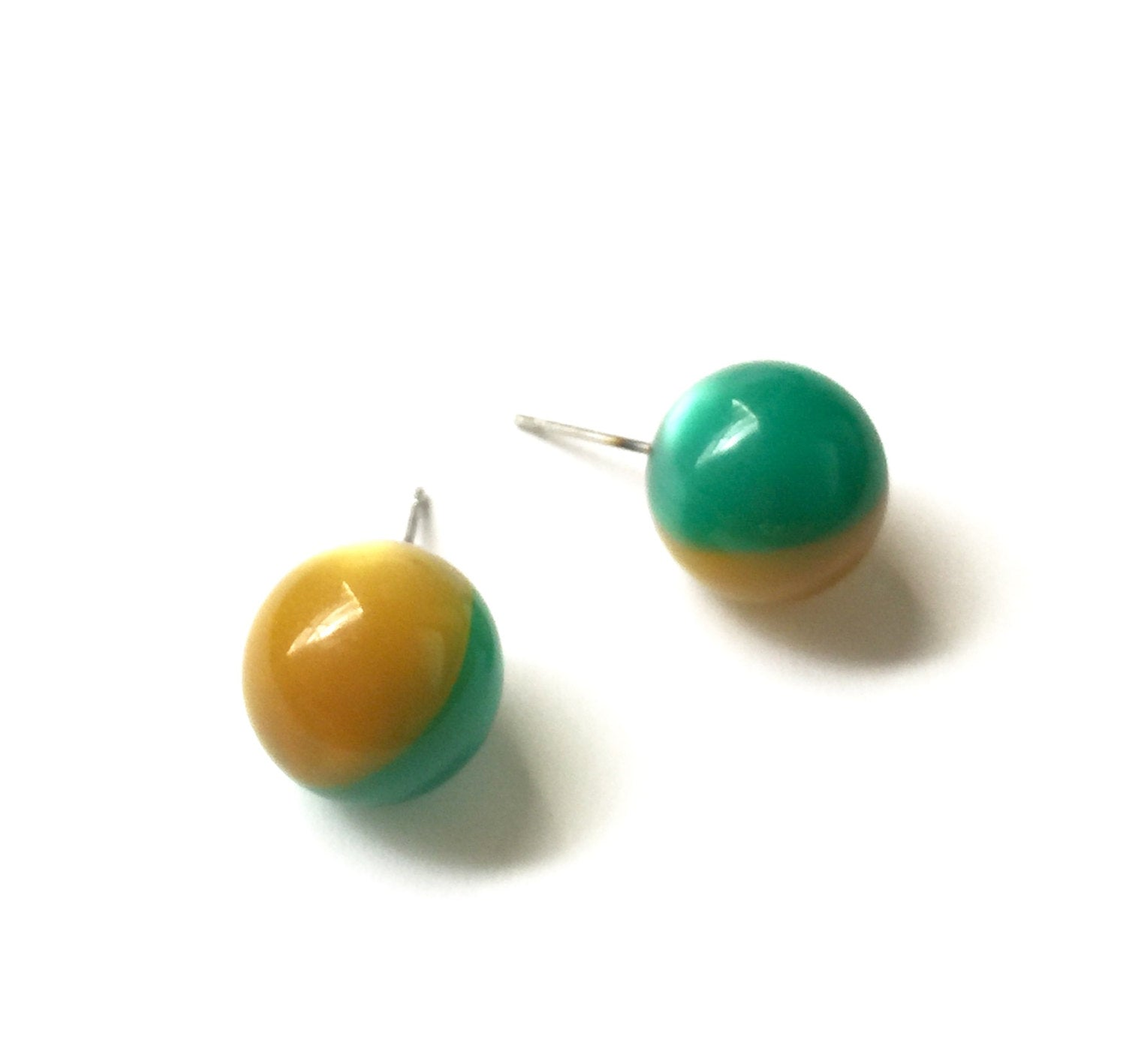 green gold moonglow studs