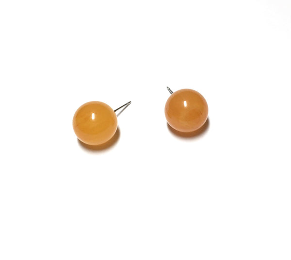Honey Amber Yellow Marbled Lucite Stud Earrings