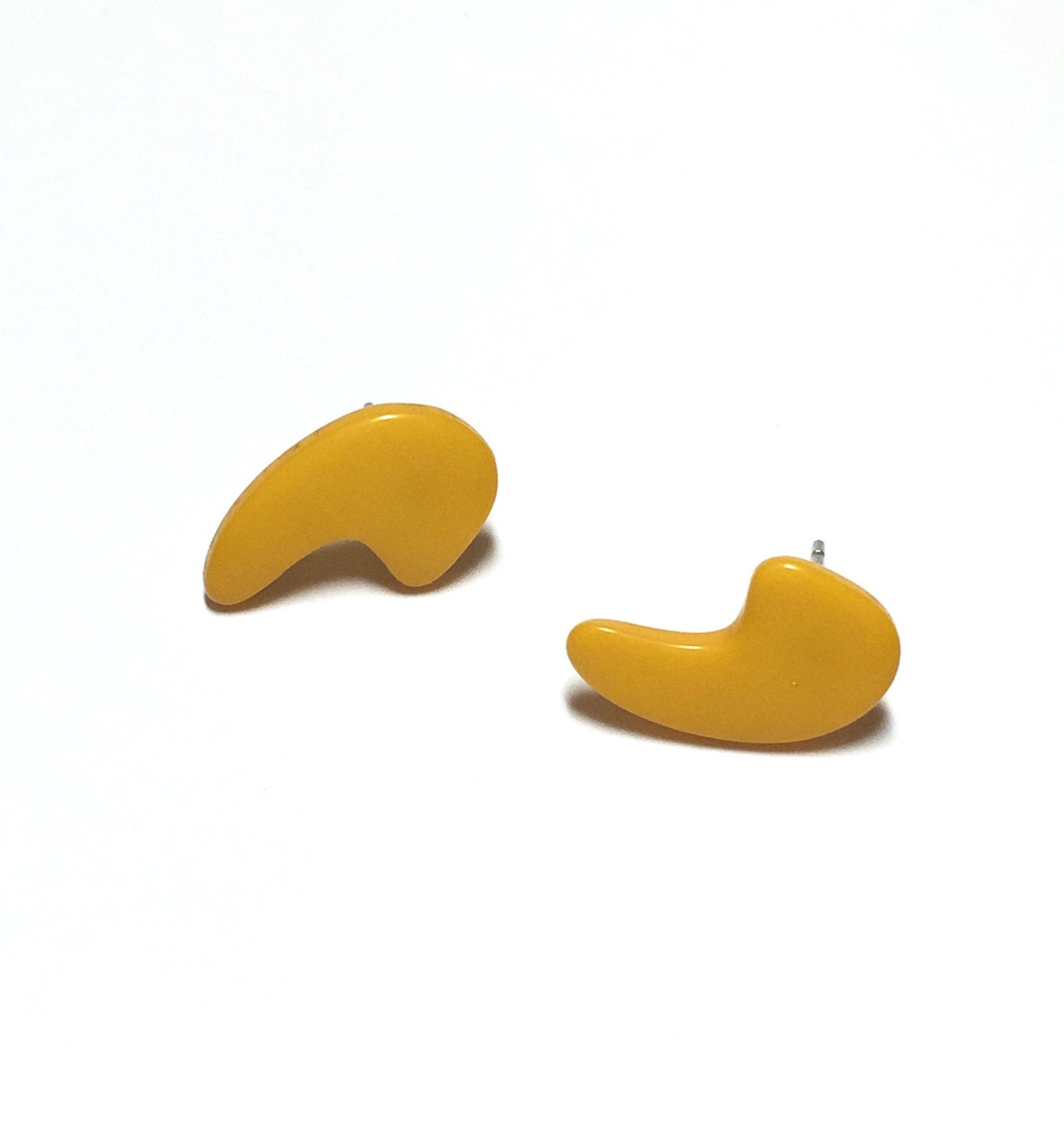 yellow comma earrings