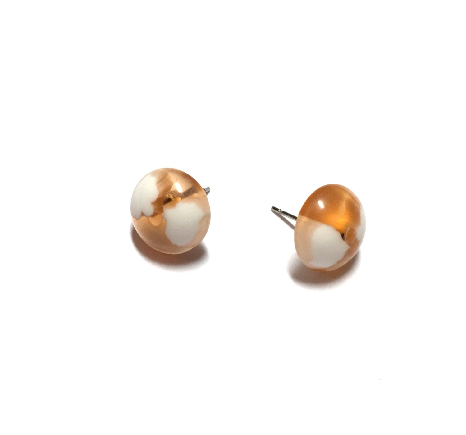beige stud earrings