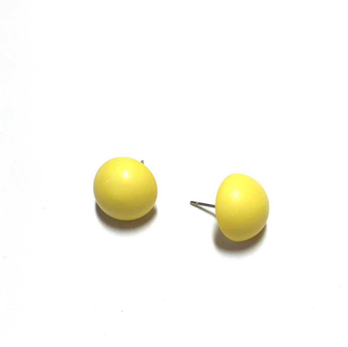 yellow lucite button earrings