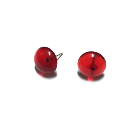 red transparent studs