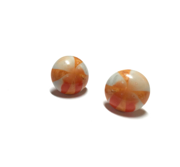 lucite orange stud earrings