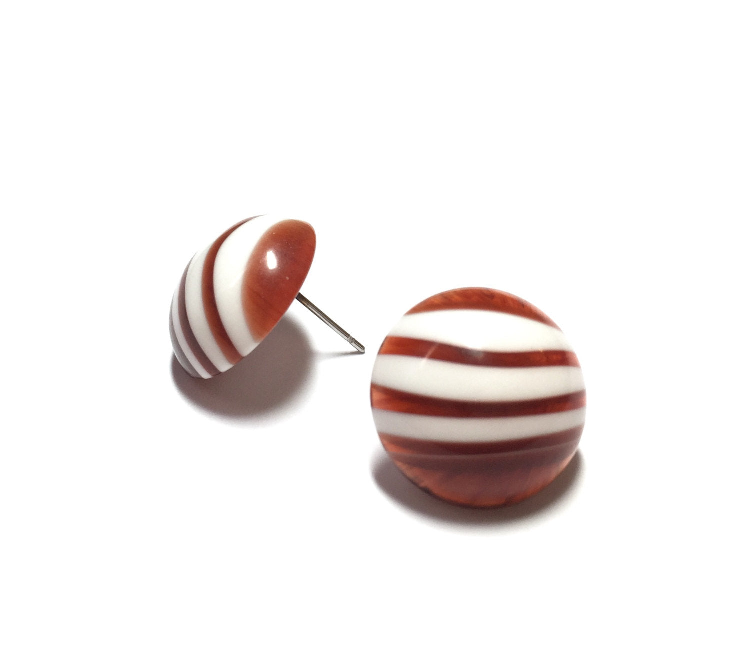 tortoise button stripe earrings